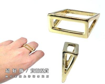 【台中好物】現貨實拍歐美時尚  質感簡約個性金色立體方型戒  戒指
