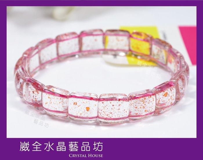 【崴全水晶】頂級 三輪骨幹 草莓晶手排 【10.5*10.5mm】提升個人魅力