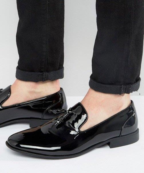 ◎美國代買◎ASOS流蘇裝飾漆皮材質英倫雅痞風漆皮光澤流蘇平底休閒鞋樂福鞋~歐美街風~大尺碼