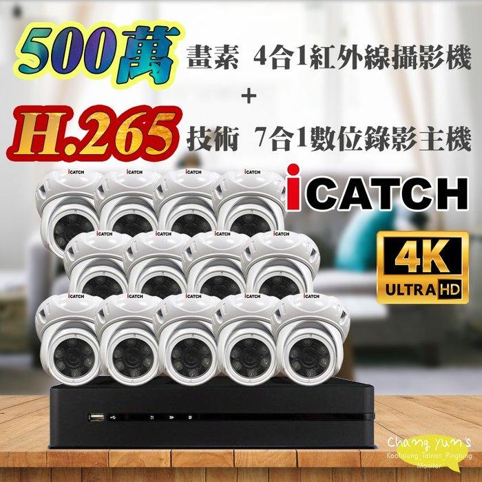 高雄/台南/屏東監視器 可取 套餐 H.265 16路主機 監視器主機+500萬400萬畫素 半球型紅外線攝影機*13