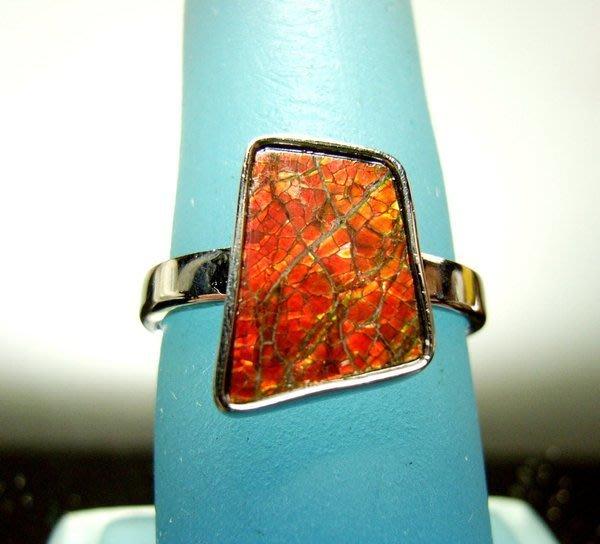 小風鈴~天然極品925銀七彩斑彩石戒指(重2.9g)又名~發達石.麒麟石(帶紅綠光)戒圍:16號