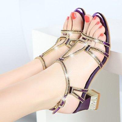 可開發票 水鑽粗跟涼鞋 女中跟鑲鑽羅馬鞋z2345