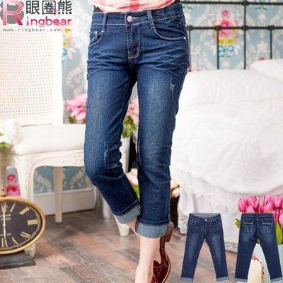 牛仔褲--蕾絲滾條繡線復古刷色魚紋九分/反折七八分小直筒牛仔褲(M-7L)-S74眼圈熊中大尺碼
