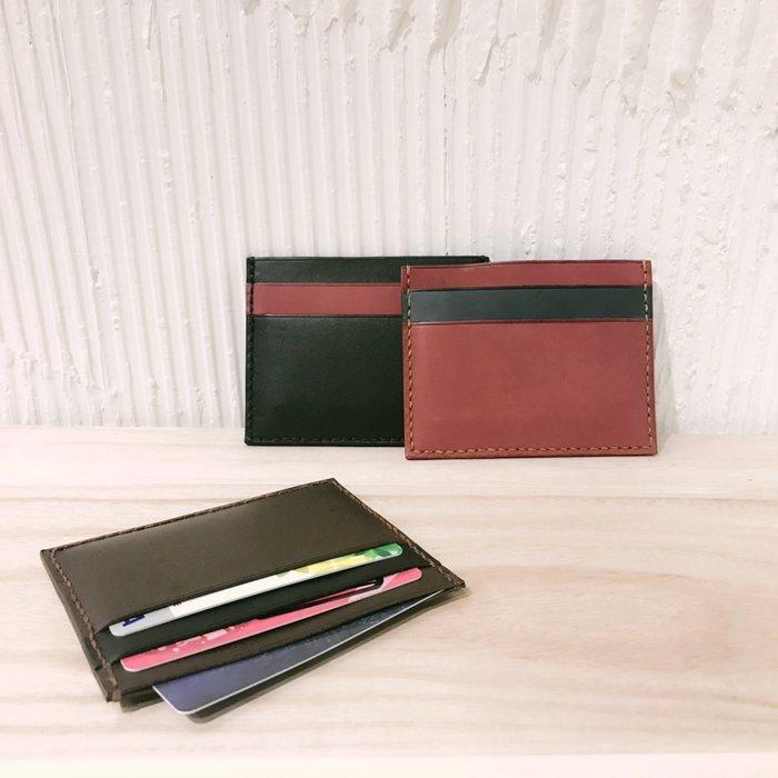 【IAN X EL】真皮雙色票卡夾  純手縫製作  提供免費烙印字