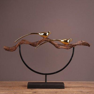 〖洋碼頭〗歐式美式後現代家居家飾擺件 客廳臥室玄關工藝品 金色小鳥樹枝 ysh497