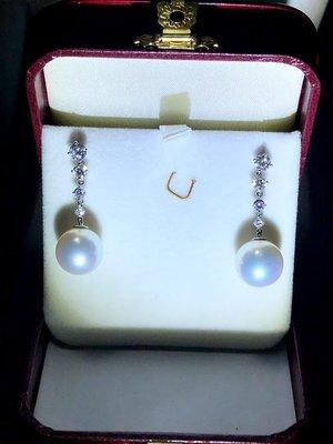 斐儷珠寶-天然南洋珍珠鑽石耳環