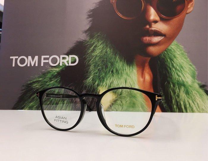 TOM FORD 黑色輕量光學圓框眼鏡 經典T字 簡約百搭 復古文青 TF5524-F 001 公司貨 鼻墊加高 亞洲版 義大利製 5524