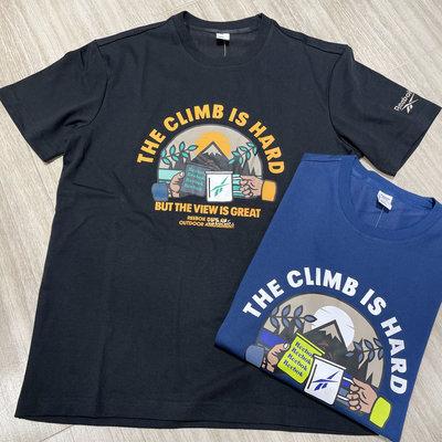 現貨 iShoes正品 Reebok CLIMB 男款 短袖 黑 藍 短T 上衣 T恤 山系 H45346 H45347