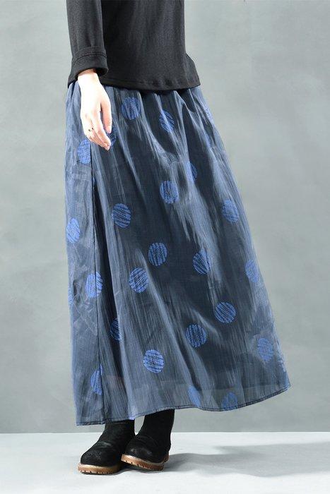 (老銀屋)秋裝輕盈優雅鬆緊腰天絲麻印花長裙