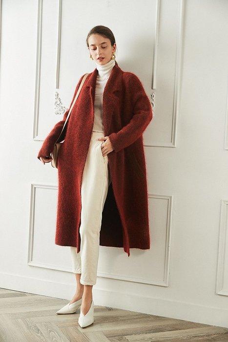 頂級奢華♥針織☆重磅馬海毛針織長外套