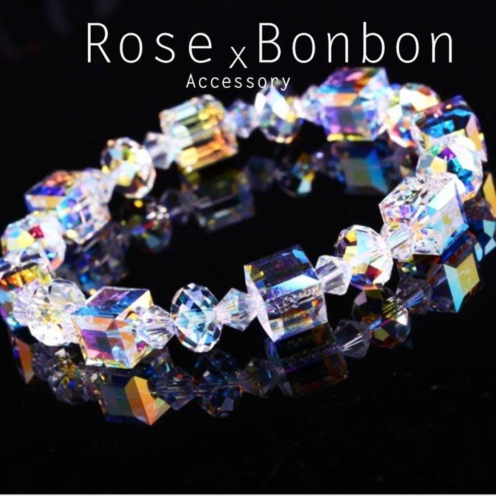 日本原創極光七彩奧地利白水晶手鍊 幾何方塊手串手環 情人生日送禮 S925純銀 Rose Bonbon G4HA06