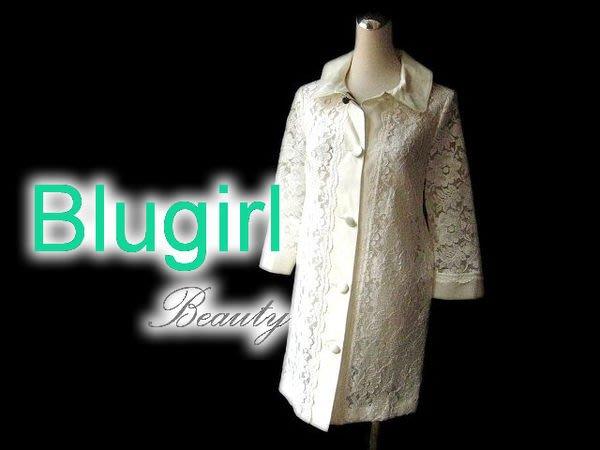 *Beauty*Blumarine Blugirl象牙白七分袖蕾絲外套 洋裝 全新附吊牌 WE14