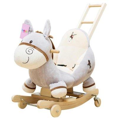 音樂搖馬女孩實木搖椅嬰兒玩具木馬兒童兩用