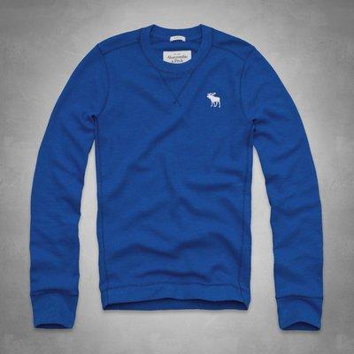 Maple麋鹿小舖 Abercrombie&Fitch * AF 藍色基本款麋鹿LOGO長T * ( 現貨L號 )