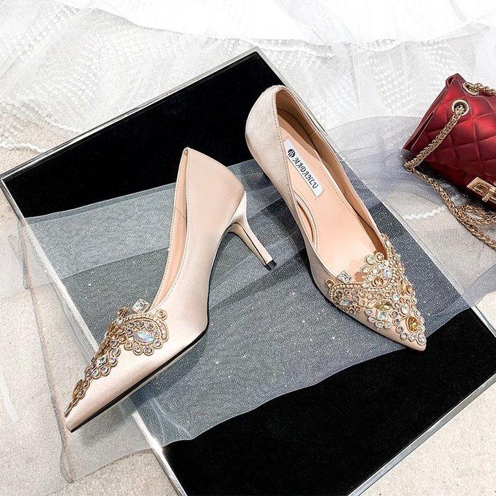 高跟鞋水鉆香檳色配主婚紗高跟鞋女細跟婚鞋新娘鞋舒適不累腳淺色伴娘鞋(規格不同價格不同)