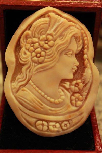 【家與收藏】賠售特價清稀有珍藏法國百年古董手工CAMEO博物館級神話浮雕稀有款貝雕 2