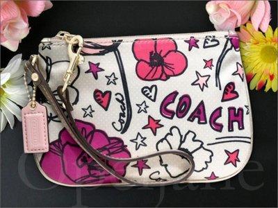 美國官網真品 COACH PVC塗鴉鑰匙包零錢皮包手拿包手腕包放手機 475561 47303 免運費 愛Coach包包