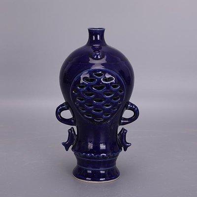 【三顧茅廬 】後周柴窯霽藍釉雙層鏤空魚紋瓶 出土文物古瓷器古玩古董收藏擺件