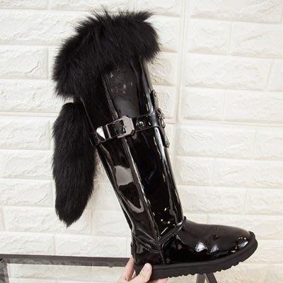 真皮長靴 平底靴子-個性水貂毛冬季時尚女鞋73iv46[獨家進口][米蘭精品]