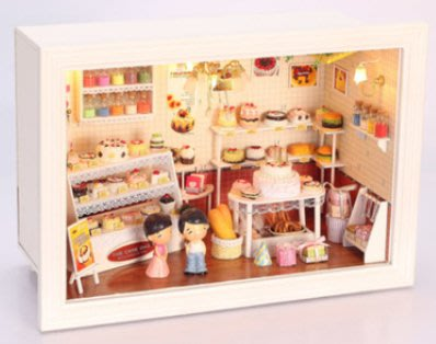 手巧家 DIY袖珍屋_愛情蛋糕店 娃娃手做玩具迷你手工動手做模型創意禮物節慶女友情人節生日禮物浪漫小物
