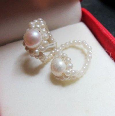 [一品軒促銷品]2顆近圓天然完美珍珠伸縮造型戒指[2款一起拍賣]