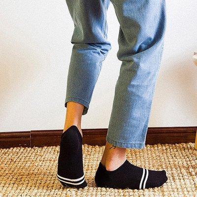 襪子短襪中筒襪中統透氣舒適高中襪學生襪 襪男女 襪子 條紋二條杠男士襪子純棉原宿吸汗男短襪 薄款硅膠防滑船襪