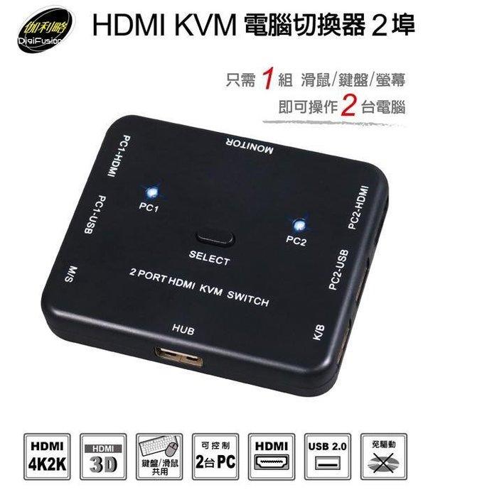 [哈GAME族]單件免運 伽利略 HDMI KVM 電腦切換器 2埠 HKVM2S 1組滑鼠/鍵盤/螢幕即可操作2台電腦