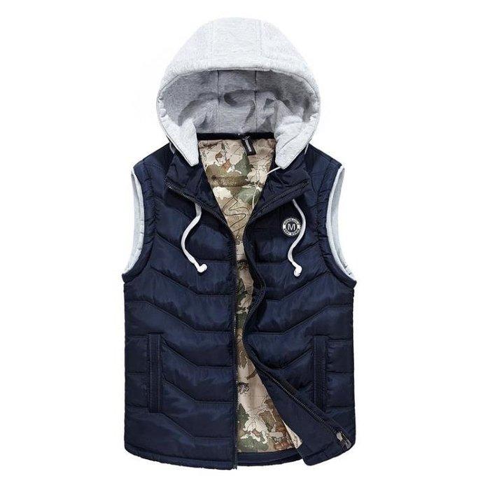 保暖馬甲外套男加棉加厚馬夾無袖棉衣可拆卸帽 棉質外套 秋冬背心外套t5717