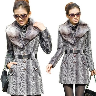 秋冬裝新款韓版女式修身毛領呢外套呢大衣