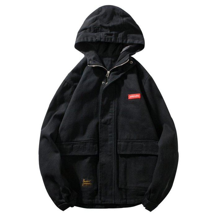 外套 衝鋒衣 風衣 保暖 防風防寒 運動春秋季男士連帽工裝外套胖子寬松加肥加大碼機能帥氣潮流夾克上衣