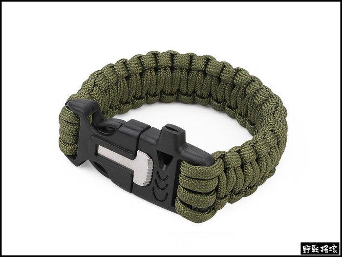 【野戰搖滾-生存遊戲】高品質多功能傘繩手環【黑色、軍綠色、沙色】 七芯傘繩手鍊求生繩登山戶外打火石