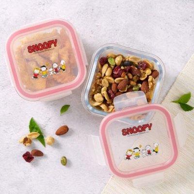 便當盒 日本 Snoopy 史努比 歡樂玻璃保鮮盒2入組 保鮮盒 餐盒 冷藏 可微波