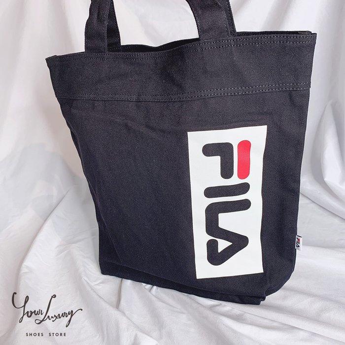 【Luxury】FILA MINI ECO 10 59 黑 白 帆布袋 環保袋 男女 肩背包 韓國代購