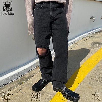 東大門Holy In Code代購Stand-B 膝蓋側切寬黑色牛仔褲 韓貨韓製 正韓男裝 BTS VIXXA 韓潮著衣