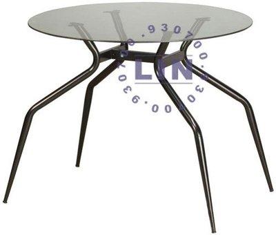 【品特優家具倉儲】P494-36餐桌洽談桌歐風烤黑玻璃圓桌2.5尺
