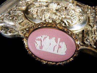 花見小路W17 粉紅碧玉浮雕 胸針天使與女神 Oval  Wedgwood JASPER  Pin Brooch Classic Design