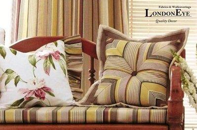 【LondonEYE】STRIPE 美國進口純棉傢飾布X鄉村風清爽層次直紋 氣質雅痞 PT風格 紫/水藍