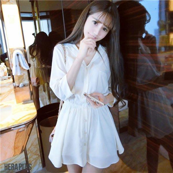 (全館一件免運費)ZUCAS - 襯杉式翻領收腰顯瘦白色洋裝 (HL-826)