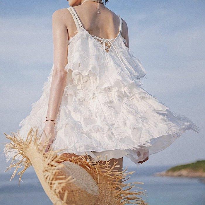 韓國Baby~小香風仙氣羽毛裙式ins聚攏比基尼三件套保守遮肚韓國度假泳衣女