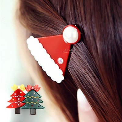 【可愛村】 聖誕快樂造型迷你髮夾 耶誕節 髮飾