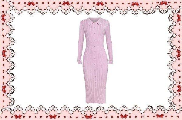 ⚡肯尼芭比⚡【保證實品拍攝】【兩色】粉色長袖及膝裙☆°緊身針織顯瘦連身洋裝☆°╮銀蔥彈性長裙【㊣日本製】