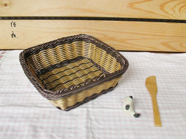 ~佐和陶瓷餐具~【38P6217雙色仿藤麵包籃(方型)】/ 麵包籃 儲物籃 /