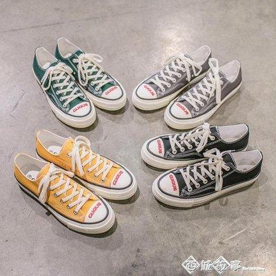 款白色帆布鞋男韓版潮流 百搭休閒鞋子男潮鞋學生復古男鞋