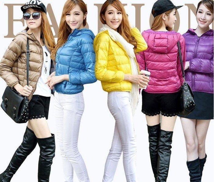 ☆女孩衣著☆日本代購同2014 UNIQLO系列款式 冬季冬款新款女式連帽超輕薄中短款女士羽絨服外套(NO.125)