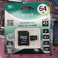 宇瞻 Apacer microSDHC Card 64GB(C10)記憶卡 台中市自取 $550