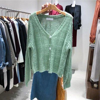 Dreamyshow韓國代購 2019早秋新款LUNATIC BLUE單排扣寬松V領針織馬海毛毛衣開衫ins潮
