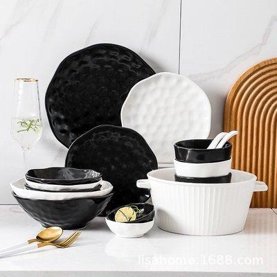有一間店-歐式陶瓷餐具碗碟盤子套裝組合 家用湯鍋西餐盤湯碗勺子 黑白簡約(規格不同 價格不同)