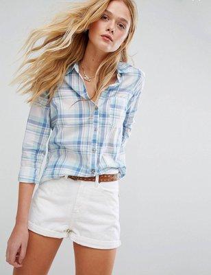 *S現貨抵台* Hollister Checked Shirt 優雅格子 淺綠藍款 百搭襯衫