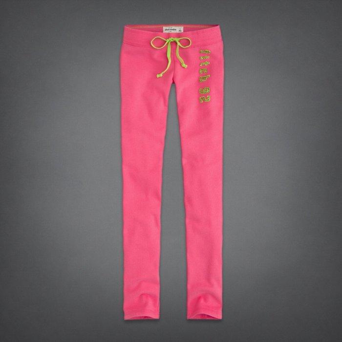 Maple麋鹿小舖 abercrombie&fitch * a&f 女童款粉紅色貼布亮片字母長棉褲* ( 現貨XL號 )