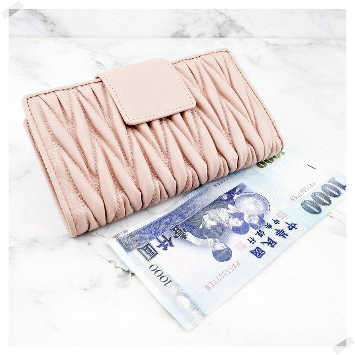 現貨秒出 *NINI Shop* 真皮 純小羊皮  16CM 皺褶中夾 (拉鍊零錢袋)-粉紅 (刷卡/超取付款)